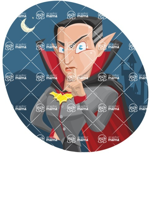 Funny Vampire Man Vector Cartoon Character - With Night Castle Background