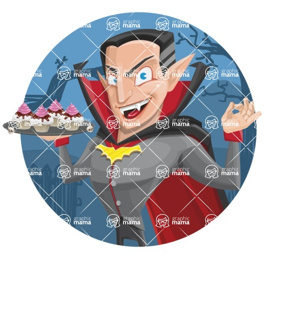 Funny Vampire Man Vector Cartoon Character - With Simple Style Halloween Background