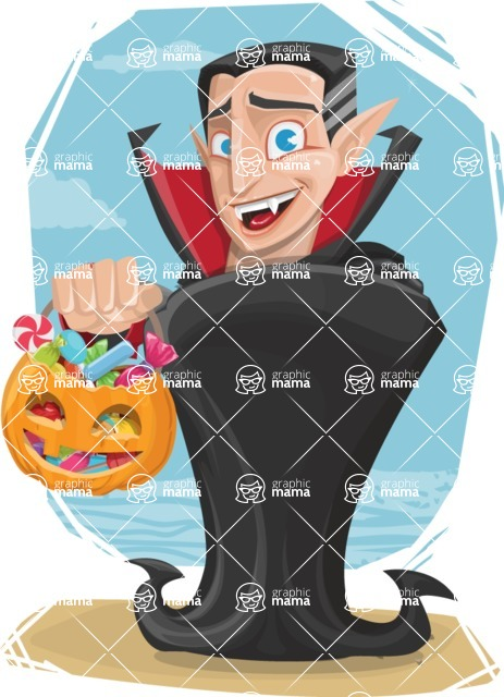 Funny Vampire Man Vector Cartoon Character - With Sunny Day Background