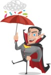 Funny Vampire Man Vector Cartoon Character - and Candies Raining Concept