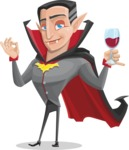 Funny Vampire Man Vector Cartoon Character - At Night Drinking Glass of Wine