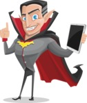 Funny Vampire Man Vector Cartoon Character - Being Modern with a Tablet