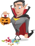 Funny Vampire Man Vector Cartoon Character - Being Sad With Broken Pumpkin Lantern