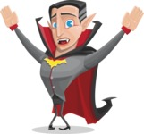 Funny Vampire Man Vector Cartoon Character - Being Scared