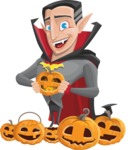 Funny Vampire Man Vector Cartoon Character - Celebrating Halloween With Pumpkins