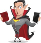 Funny Vampire Man Vector Cartoon Character - Choosing Between Modern and Oldschool