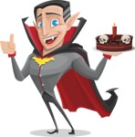 Funny Vampire Man Vector Cartoon Character - Holding a Halloween Cake
