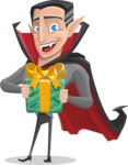Funny Vampire Man Vector Cartoon Character - Holding a Halloween Gift