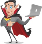 Funny Vampire Man Vector Cartoon Character - Holding a Laptop