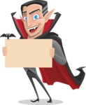 Funny Vampire Man Vector Cartoon Character - Holding Blank Presentation Sign for Halloween