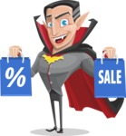 Funny Vampire Man Vector Cartoon Character - Holding Shopping Bags