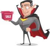 Funny Vampire Man Vector Cartoon Character - On a Sale