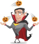 Funny Vampire Man Vector Cartoon Character - Playing on Halloween