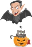 Funny Vampire Man Vector Cartoon Character - Playing With Cat on Halloween