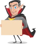 Funny Vampire Man Vector Cartoon Character - Presenting on a Blank Halloween Sign