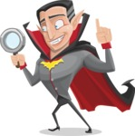 Funny Vampire Man Vector Cartoon Character - Searching