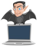 Funny Vampire Man Vector Cartoon Character - Showing a Laptop