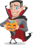 Funny Vampire Man Vector Cartoon Character - Trick Or Treating