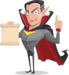Funny Vampire Man Vector Cartoon Character - With a Blank Scroll