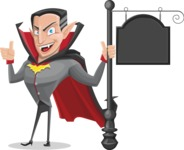 Funny Vampire Man Vector Cartoon Character - With a Blank Vintage Street Sign