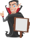 Funny Vampire Man Vector Cartoon Character - With a Blank Wood Sign