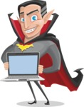 Funny Vampire Man Vector Cartoon Character - With a Computer
