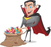 Funny Vampire Man Vector Cartoon Character - With Bag full of Halloween Treats