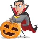 Funny Vampire Man Vector Cartoon Character - With Big Halloween Pumpkin