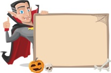 Funny Vampire Man Vector Cartoon Character - With Blank Halloween Whiteboard