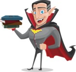 Funny Vampire Man Vector Cartoon Character - With Books