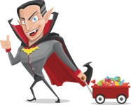 Funny Vampire Man Vector Cartoon Character - With Candy Wagoon