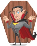 Funny Vampire Man Vector Cartoon Character - With Coffin Shape Background