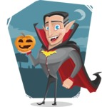 Funny Vampire Man Vector Cartoon Character - With Dark Night Background