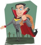 Funny Vampire Man Vector Cartoon Character - With Graveyard Background