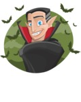 Funny Vampire Man Vector Cartoon Character - With Halloween Background with Bats