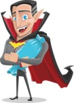 Funny Vampire Man Vector Cartoon Character - With Halloween Candy