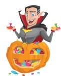 Funny Vampire Man Vector Cartoon Character - With Huge Pumpkin full of Treats
