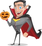 Funny Vampire Man Vector Cartoon Character - With Pumpkin
