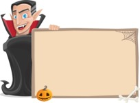 Funny Vampire Man Vector Cartoon Character - With Whiteboard on Halloween Theme