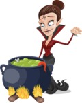 Pretty Female Vampire Cartoon Vector Character - Cooking in a Caldron