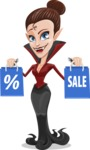 Pretty Female Vampire Cartoon Vector Character - Holding Shopping Bags
