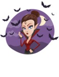 Pretty Female Vampire Cartoon Vector Character - On Halloween Background with Bats