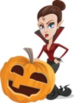 Pretty Female Vampire Cartoon Vector Character - With Big Halloween Pumpkin