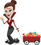 Pretty Female Vampire Cartoon Vector Character - With Candy Wagoon