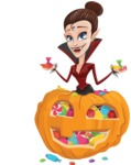 Pretty Female Vampire Cartoon Vector Character - With Huge Pumpkin full of Treats