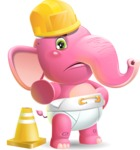 Baby Elephant Vector Cartoon Character - as a Construction worker
