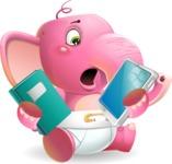 Baby Elephant Vector Cartoon Character - Choosing between Book and Tablet