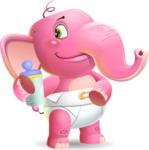 Baby Elephant Vector Cartoon Character - Drinking milk