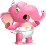 Baby Elephant Vector Cartoon Character - Feeling Lost