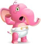 Baby Elephant Vector Cartoon Character - Feeling Shocked